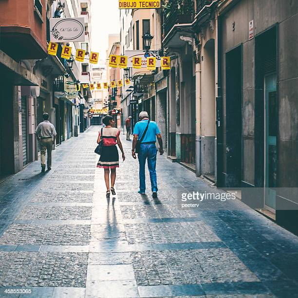 shopping street. - castellon de la plana stock pictures, royalty-free photos & images