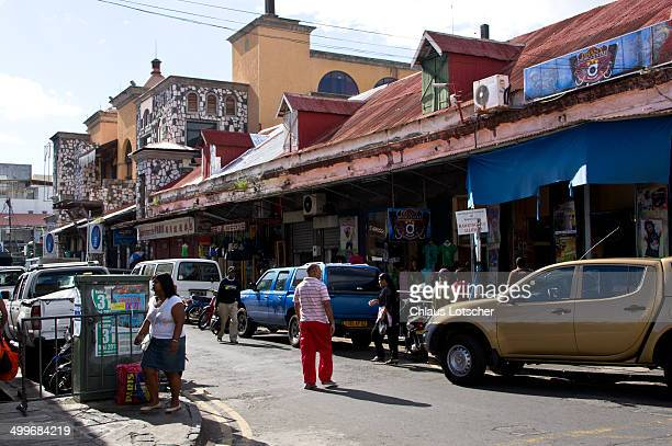 shopping street, port louis, mauritius - port louis stock photos and pictures