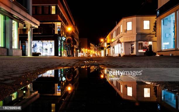 "shopping street reflection - trondheim, norway - ""peeter viisimaa"" or peeterv stock pictures, royalty-free photos & images"