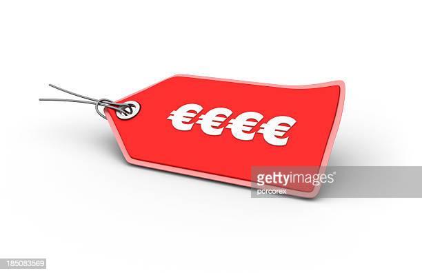 simbolo di euro shopping tag - prezzo messaggio foto e immagini stock
