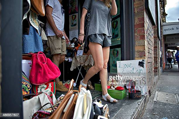 Shopping the markets in Brunswick Street in innercity Fitzroy Melbourne on a Saturday morning
