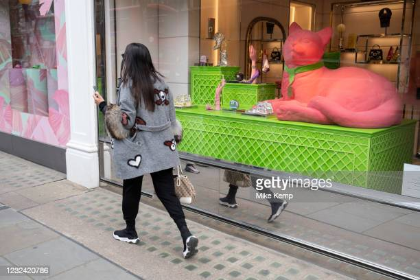 Shopping window display in the upmarket area of Knightsbridge on 14th April 2021 in London, United Kingdom. Knightsbridge is one of the principal...