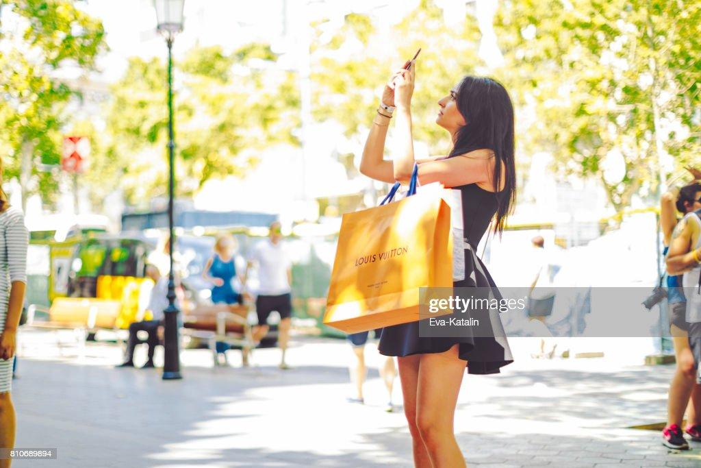 Shopping woman, Barcelona - Spain : Stock Photo