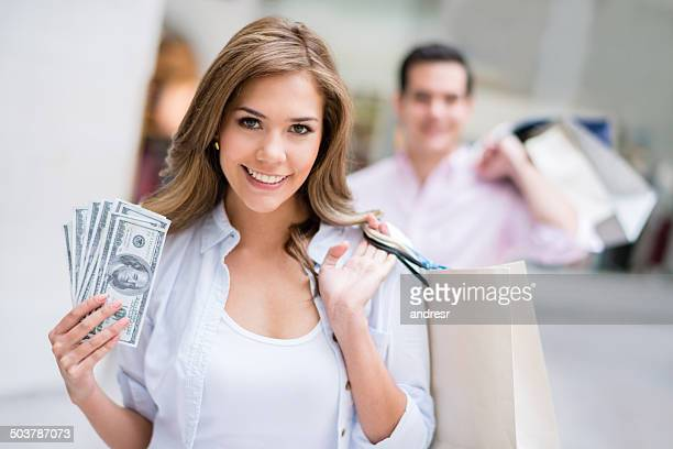Shopping woman spending money