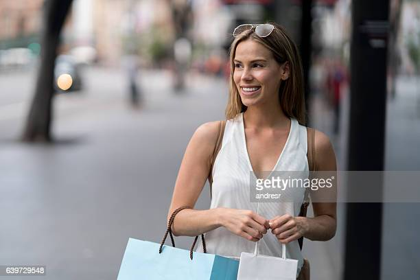 Shopping woman walking on the street