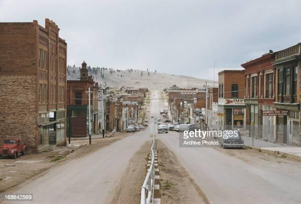 Shops along Bennett Avenue Cripple Creek Teller County Colorado circa 1962