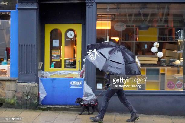 Shops and businesses in Hebden Bridge install their flood defences as rain and recent melting snow begin to raise river levels on January 19, 2021 in...
