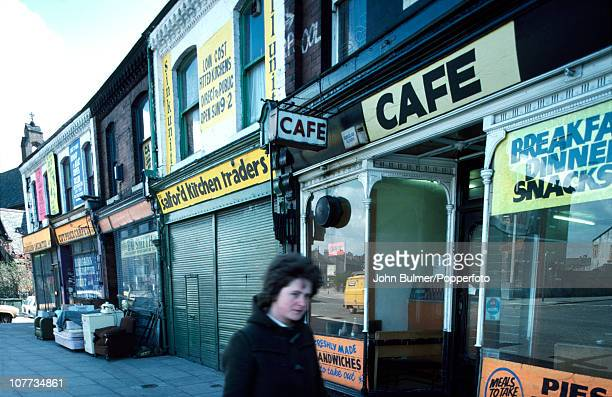 Shops and cafes in Salford Greater Manchester in 1976