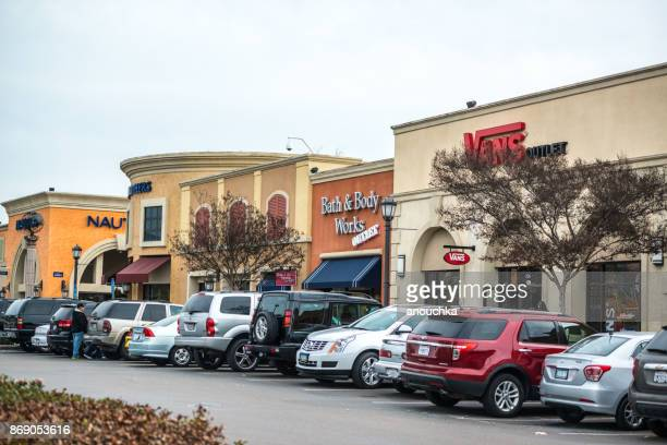 Shops and car parking at Las Americas Shopping mall, San Diego, USA
