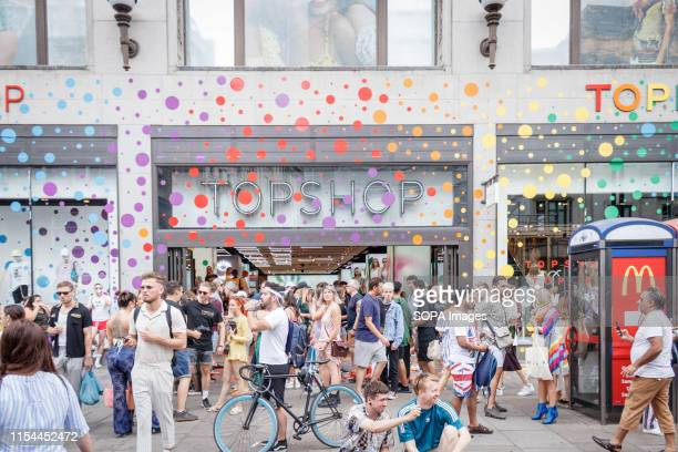 Shops and companies decorated the exteriors of their premises with rainbow coloured flags during the parade. The Pride in London 2019 Parade Day is a...