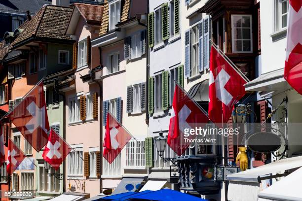 Shops and Flags in Zurich