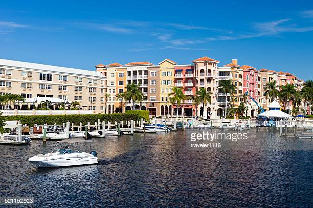 shops and marina in naples, florida - naples florida stock pictures, royalty-free photos & images