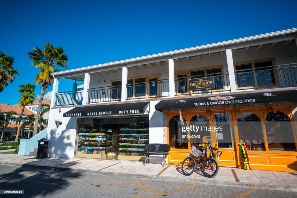 Shops and rental services at Saltmills Plaza, Providenciales. Turks and Caicos : Stock Photo