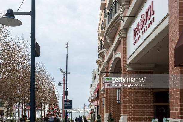 Shops and Restaurants along American Way at National Harbor on December 5 2017 in Oxon Hill Maryland