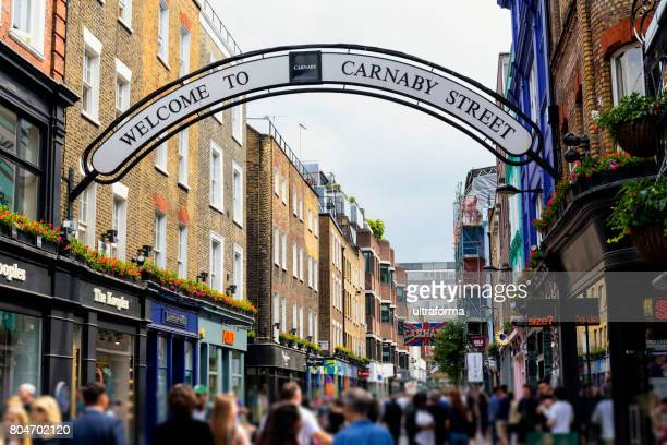 Shops and restaurants in Carnaby Street London