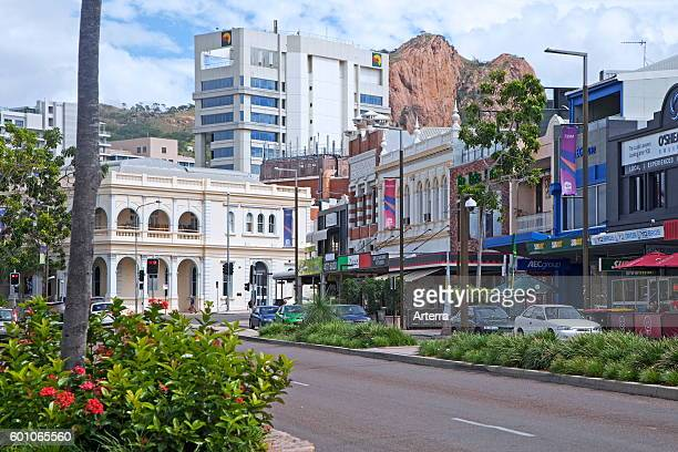 Shops and restaurants in the Townsville central business district, north-eastern coast of Queensland, Australia.