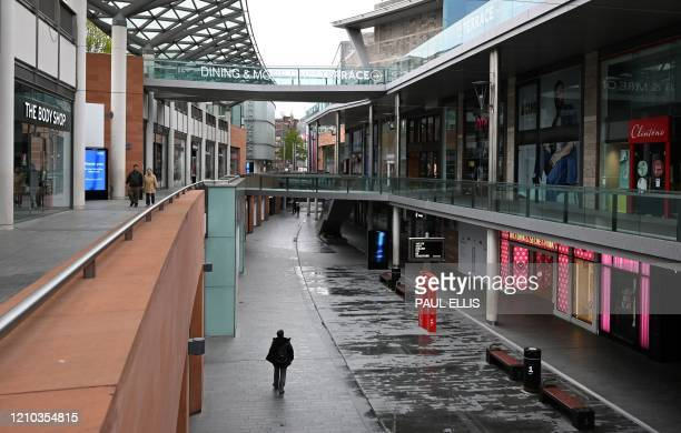 Shops are closed and the shopping centre seen empty during the nationwide lockdown because of the novel coronavirus outbreak in the centre of...
