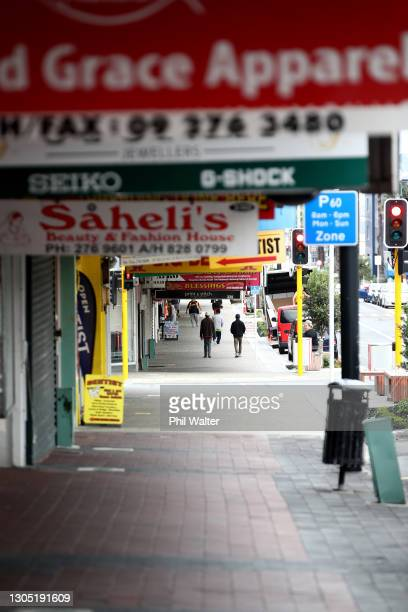 Shops are mostly closed and the Otahuhu mall is shown empty of people on March 04, 2021 in Auckland, New Zealand. Auckland is currently in level 3...