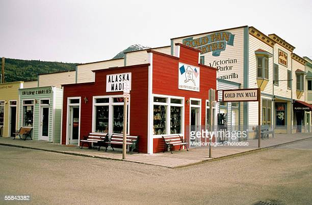 Shops at a street corner, Skagway, Alaska, USA