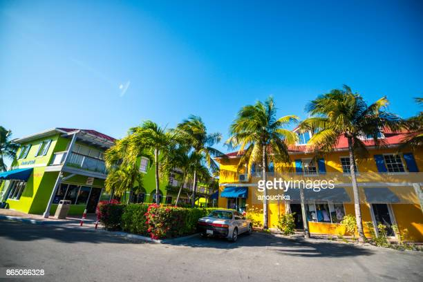 shops, cafes and small business of grace bay, turks and caicos islands - grand bahama stock photos and pictures