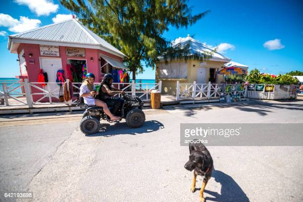shops for tourists in historic downtown of cockburn town, capital of turks and caicos islands - turks and caicos islands stock pictures, royalty-free photos & images