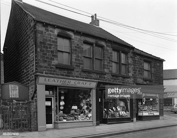 Shops in Bank Street Mexborough South Yorkshire 1963 A photograph taken for the property owners The shops which include Leathercraft selling ladies...