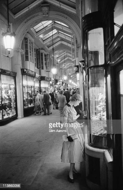 Shops in Burlington Arcade which runs between Burlington Gardens and Piccadilly in London 1955