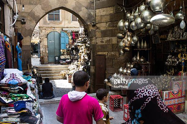 Shops in Khan AlKhalili market in Cairo Egypton September 19 2016 The Khan elKhalili is a major souk in the Islamic district of Cairo Egypt The...