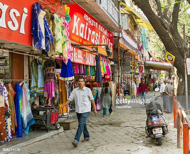 shops in pondy bazaar, chennai, india - chennai stock pictures, royalty-free photos & images