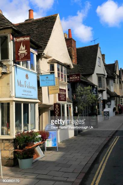 shops in the georgian market town of stamford - lincolnshire stock pictures, royalty-free photos & images
