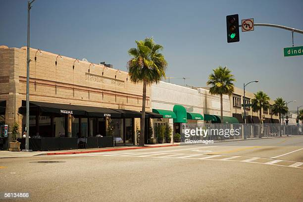 Shops lining a sidewalk, Rodeo Drive, Los Angeles, California, USA