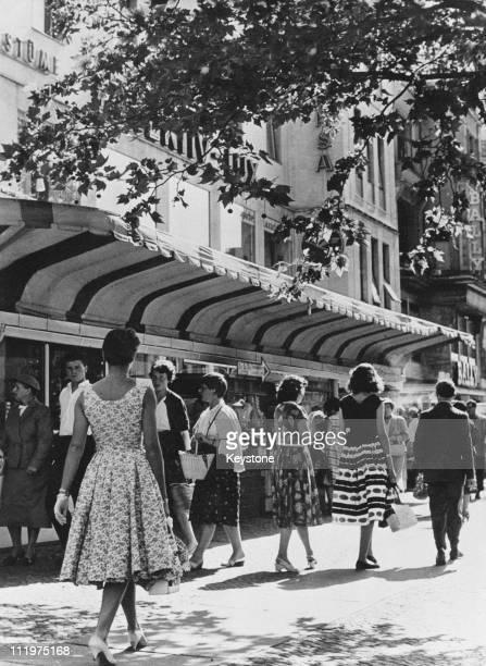 Shops on the Kurfurstendamm in west Berlin, circa 1960.