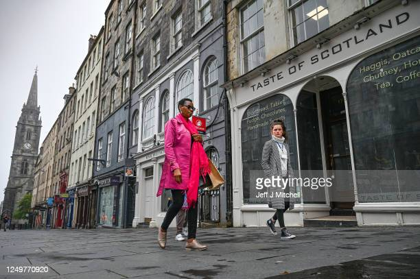 Shops on the Royal Mile, remain closed as the country enters week 13 of the coronavirus lockdown restriction on June 15, 2020 in Edinburgh, Scotland....