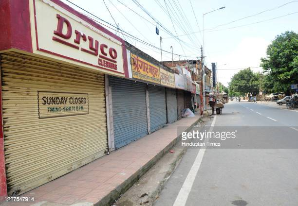 Shops shuttered due to lockdown against coronavirus along Boring Canal Road on July 15 2020 in Patna India