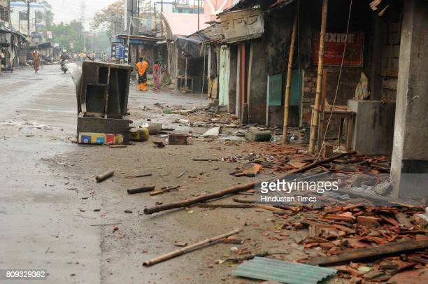 Shops vandalised violance in Baduria after protests over an objectionable social media post on July 5 2017 in North 24 Parganas India The class XI...
