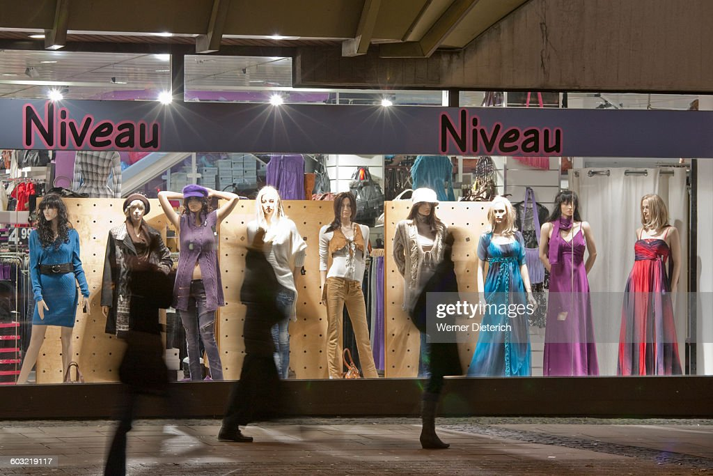 d9c89bacf69 Shop-window of a clothing store in Stuttgart   Stock Photo