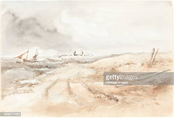 Shore Scene with Boats in Choppy Water, first half 19th century. Artist Unknown.