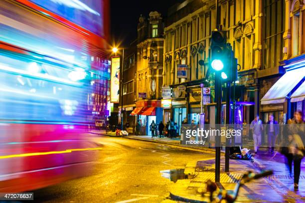 shoreditch high street, london at night - shoreditch stock photos and pictures