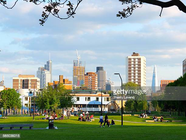 shoreditch park, london - shoreditch stock photos and pictures
