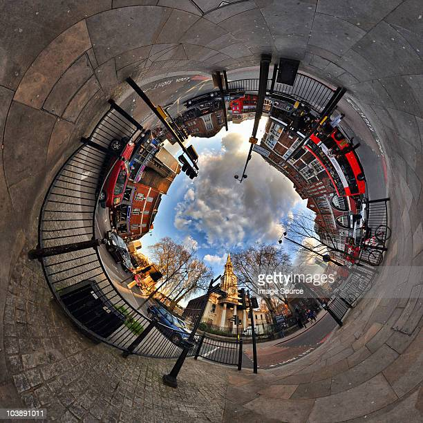 shoreditch with tunnel effect - fish eye foto e immagini stock