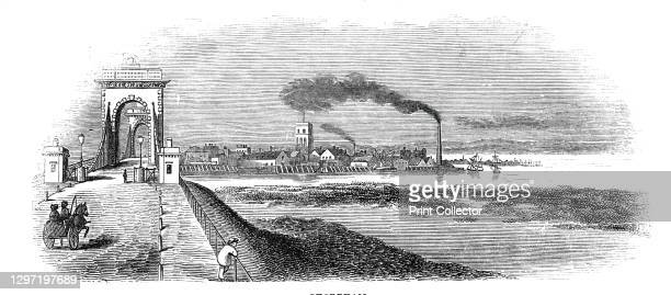 Shoreham, 1844. The Norfolk Suspension Bridge at Shoreham-by-Sea in Sussex. 'From this point is a branch line to Shoreham, a passage of ten minutes....