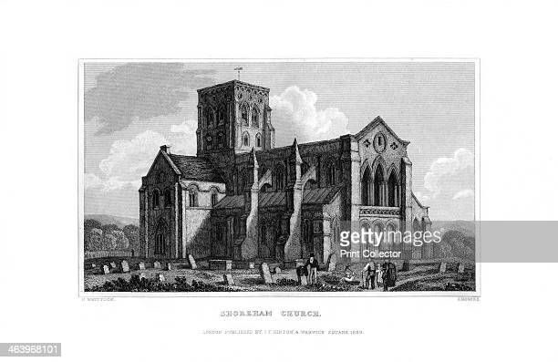 Shoreham Church West Sussex 1829 The Norman Church of St Mary de Haura dates from the late 11th century