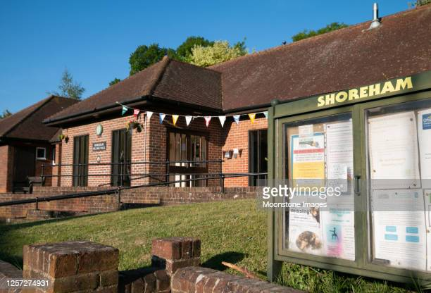shoreham village hall in kent, england - bulletin board flyer stock pictures, royalty-free photos & images