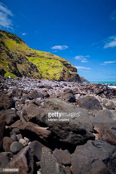 shoreline in the valley below whaanga road - merten snijders stock pictures, royalty-free photos & images