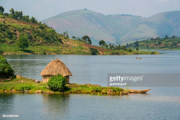 shoreline of lake kivu, congo, africa - congo stock pictures, royalty-free photos & images