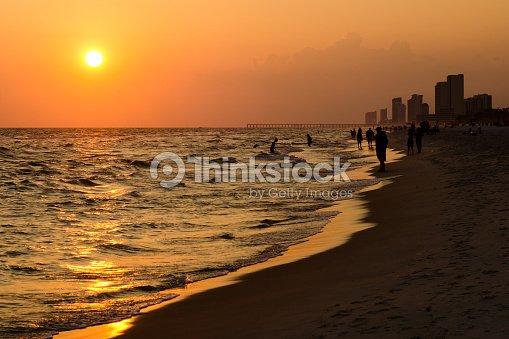 Sline Of Panama City Beach At Sunset Stock Photo