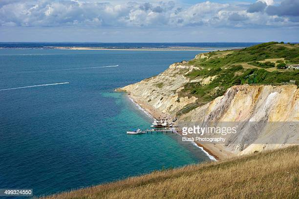 shoreline of the needles headland and tennyson down, england - freshwater bay isle of wight ストックフォトと画像