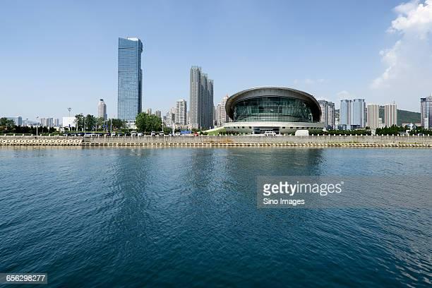 Shoreline Skyscrapers and Blue Sea in Dalian