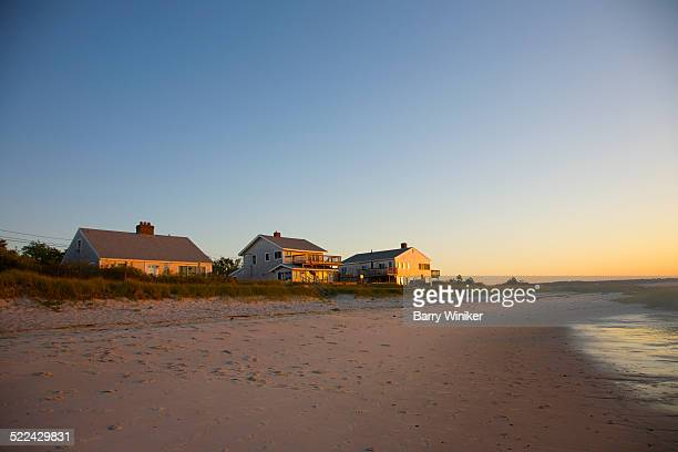 Shoreside houses near beach, Cape Cod