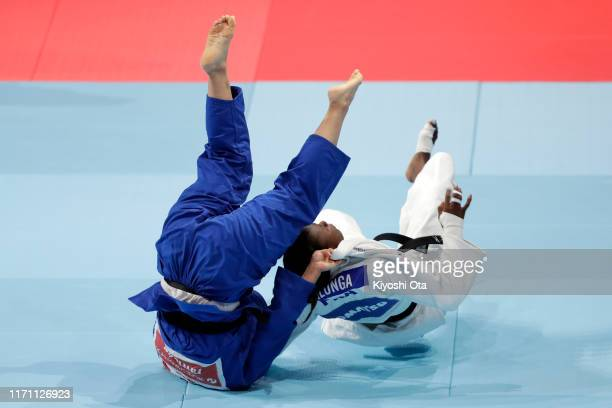 Shori Hamada of Japan and Madeleine Malonga of France compete in the Women's -78kg final on day six of the World Judo Championships at the Nippon...
